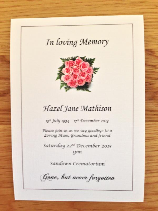Funeral Invitations Examples Uk