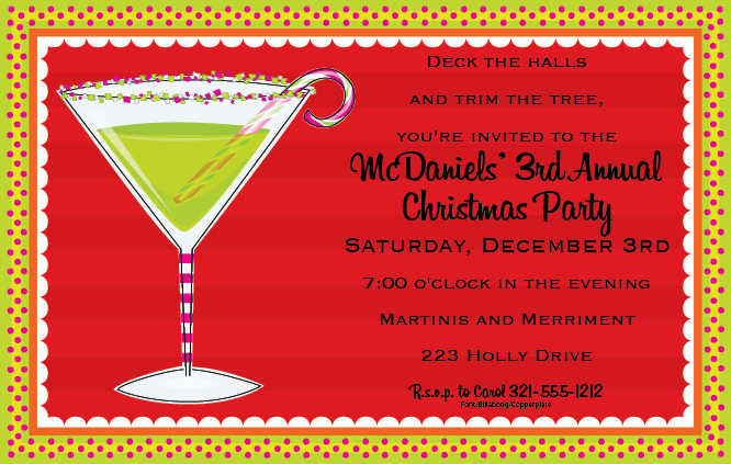 Funny Holiday Cocktail Party Invitation Wording