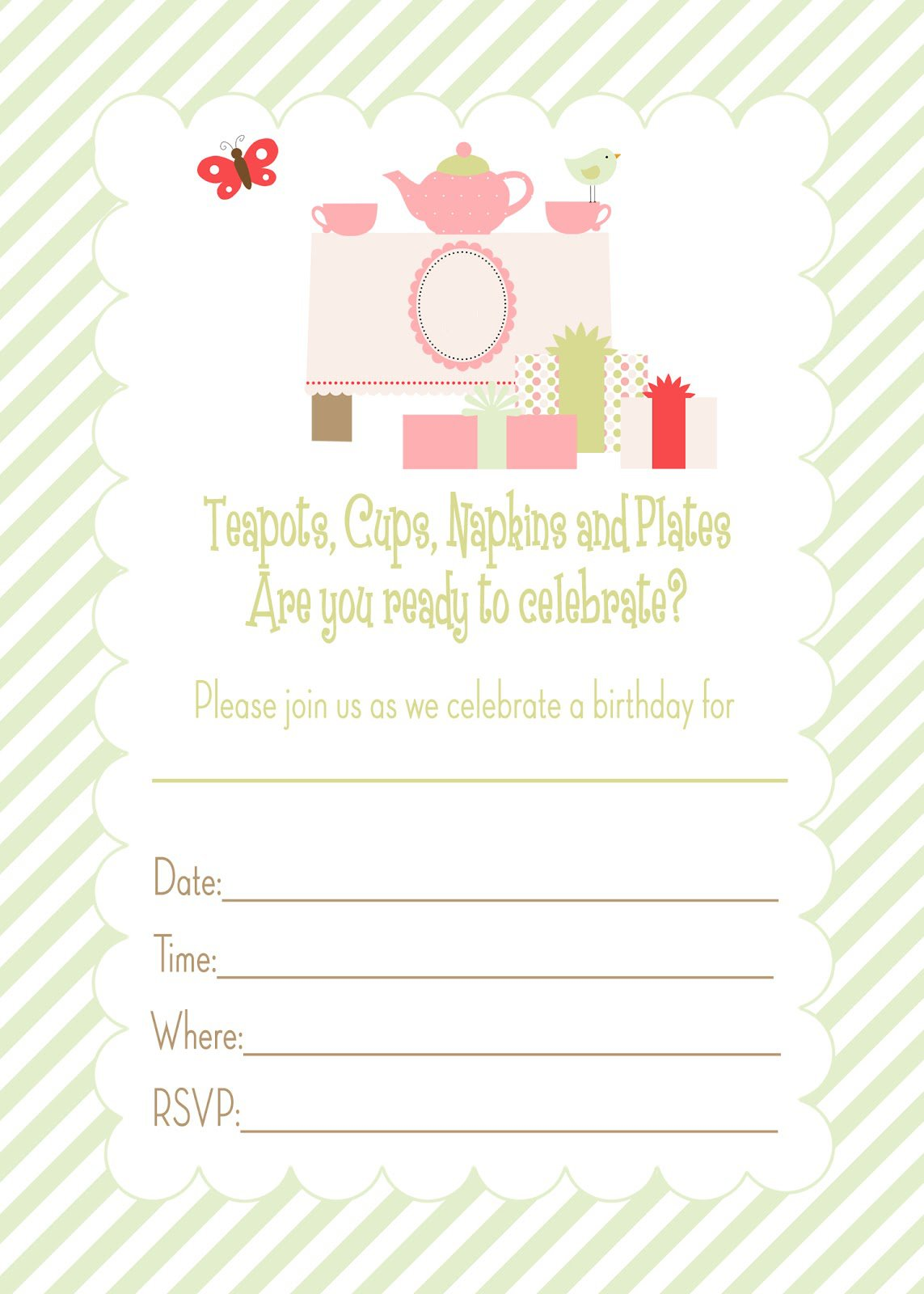 Generic Birthday Invitations Templates