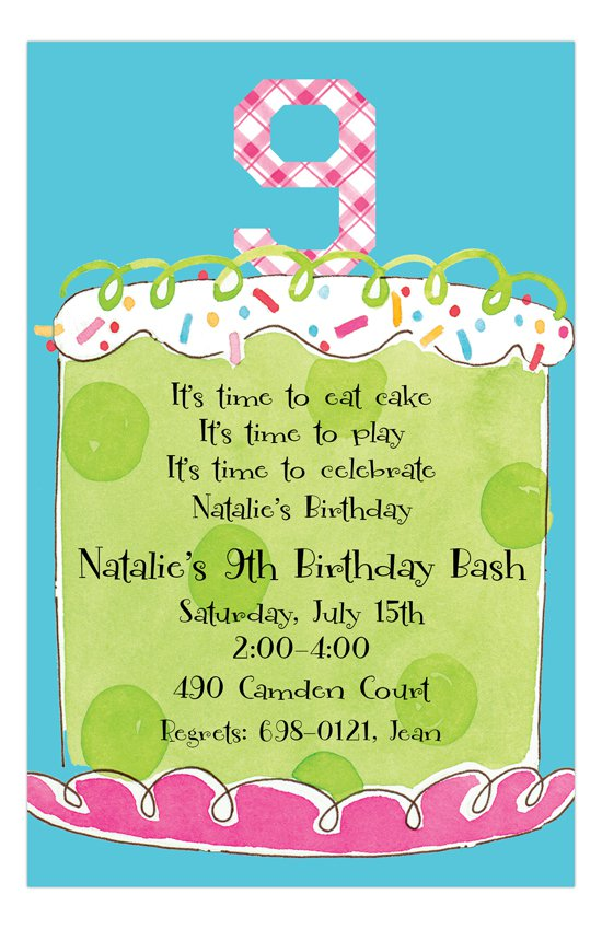 Girl 9th Birthday Invitation Wording