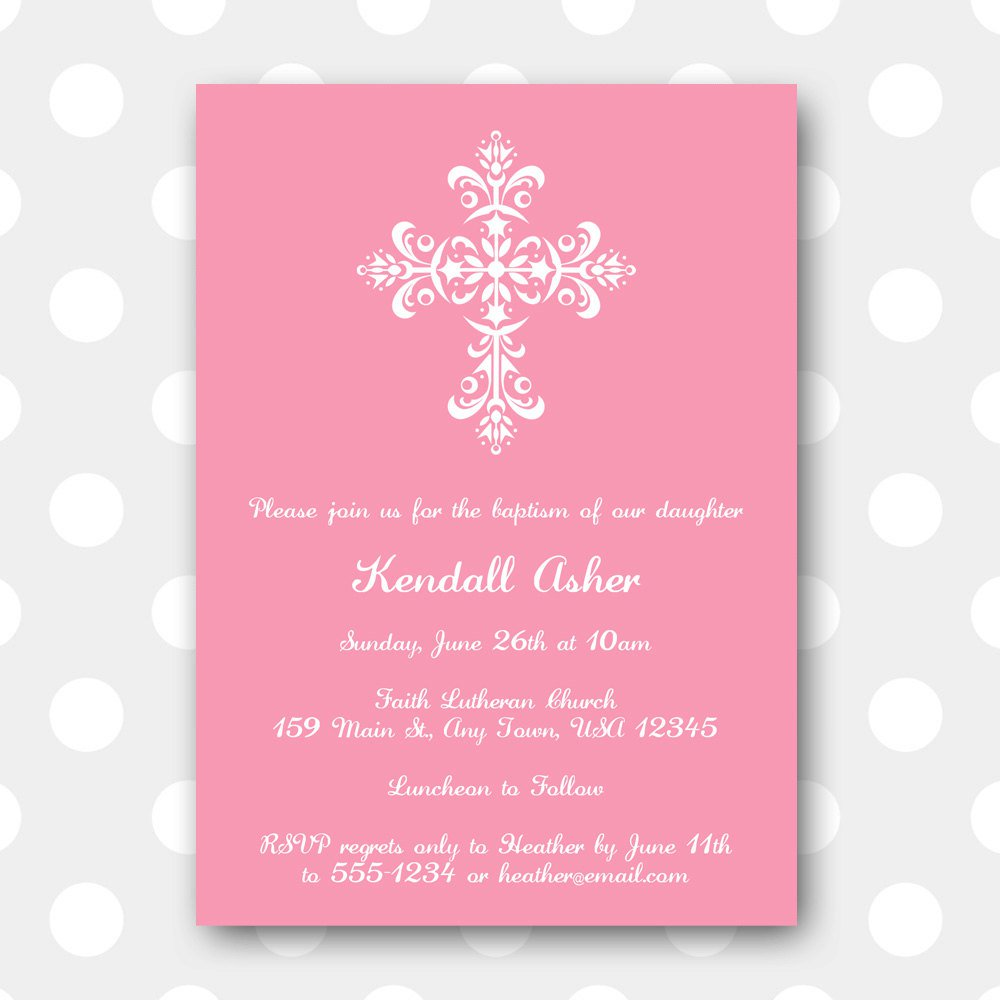 Girl Baptism Invitation Templates Downloadable