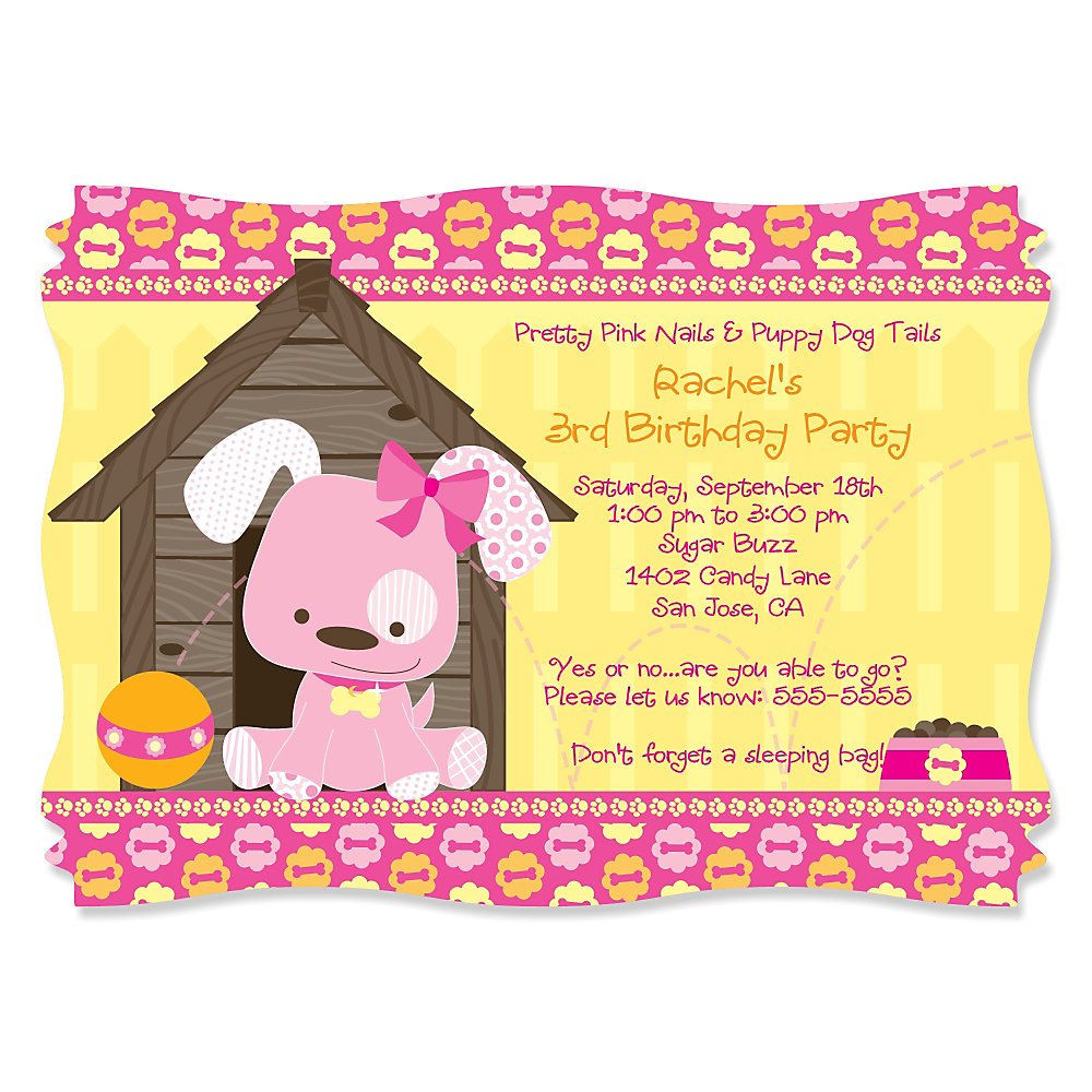 Girl Dog Party Invitations