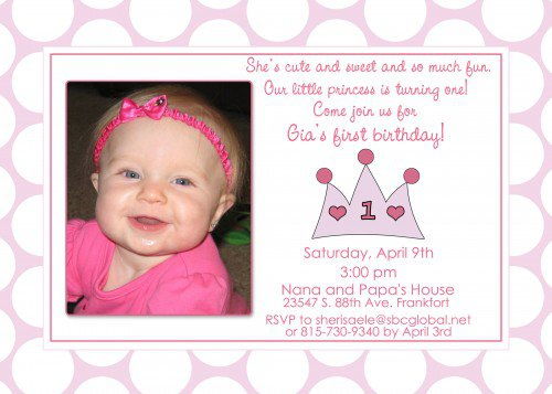 Girl First Birthday Party Invitations – First Birthday Princess Invitations