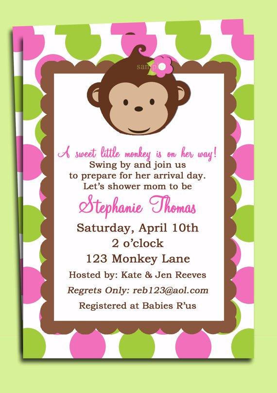 Girl Mod Monkey Birthday Invitations