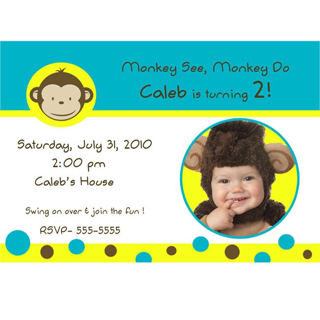 Girl Monkey Birthday Invitations