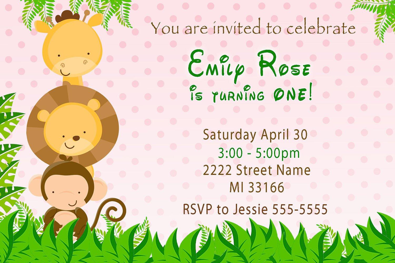 Girl Monkey Birthday Party Invitations