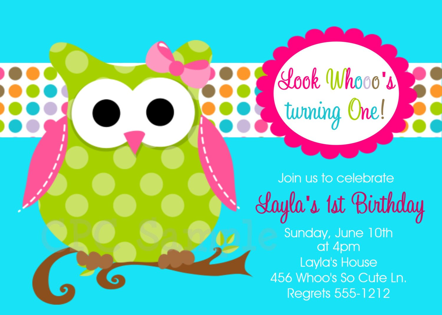 Girl Owl Birthday Party Invitations