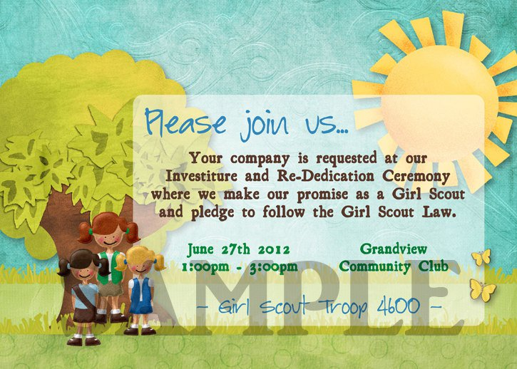 Girl Scout Investiture Ceremony Invitations Wording