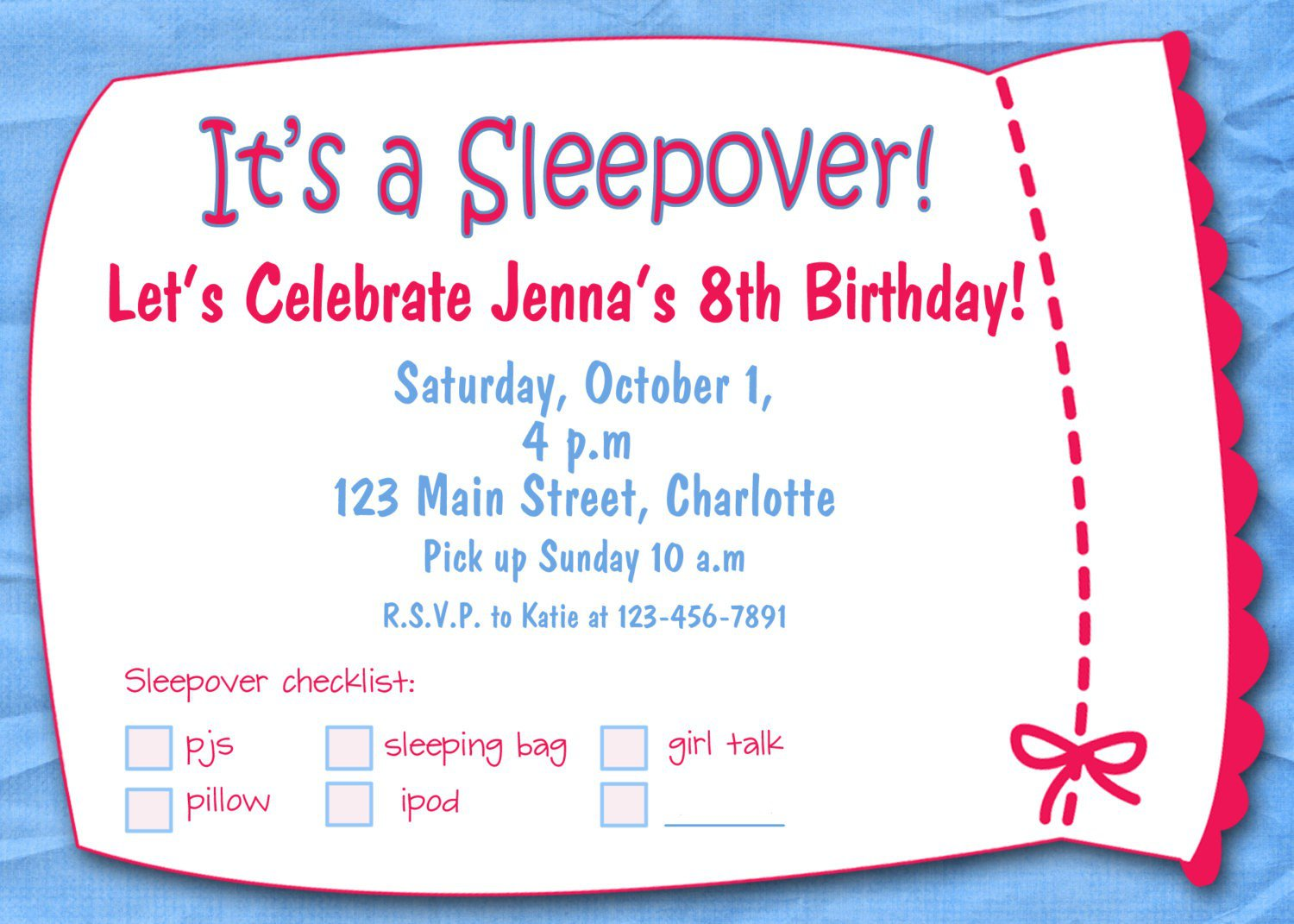 Girl Slumber Party Invitations Blank