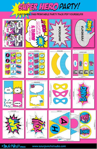 Girl Superhero Birthday Party Invitations