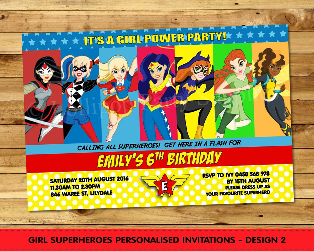 Girl Superhero Party Invitations