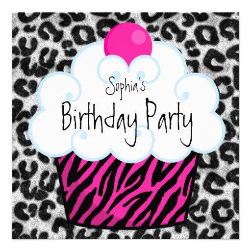 Girl Zebra Party Invitations