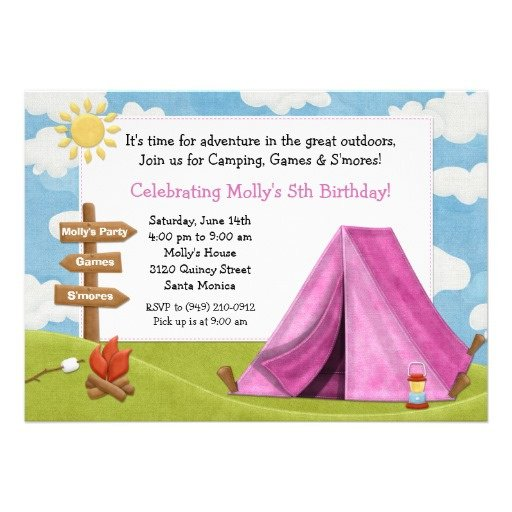 Girls Camping Party Invitations