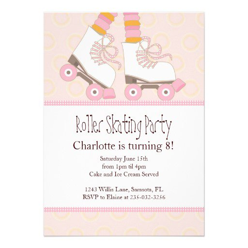 Girls Roller Skating Party Invitations