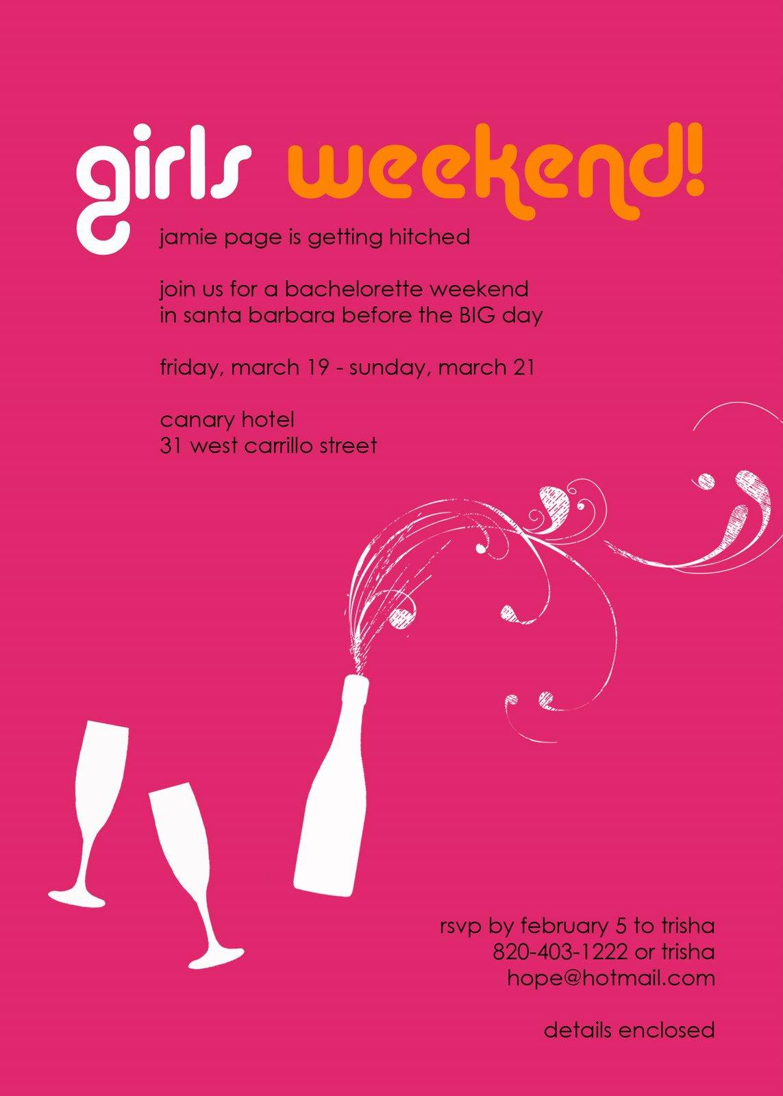 Girls Weekend Invitations