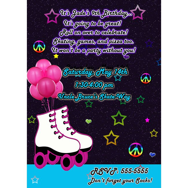 Glow Party Invitations – Roller Skating Party Invitation Wording