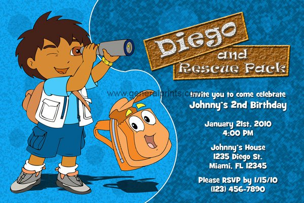 Go Diego Go Party Invitations Printable