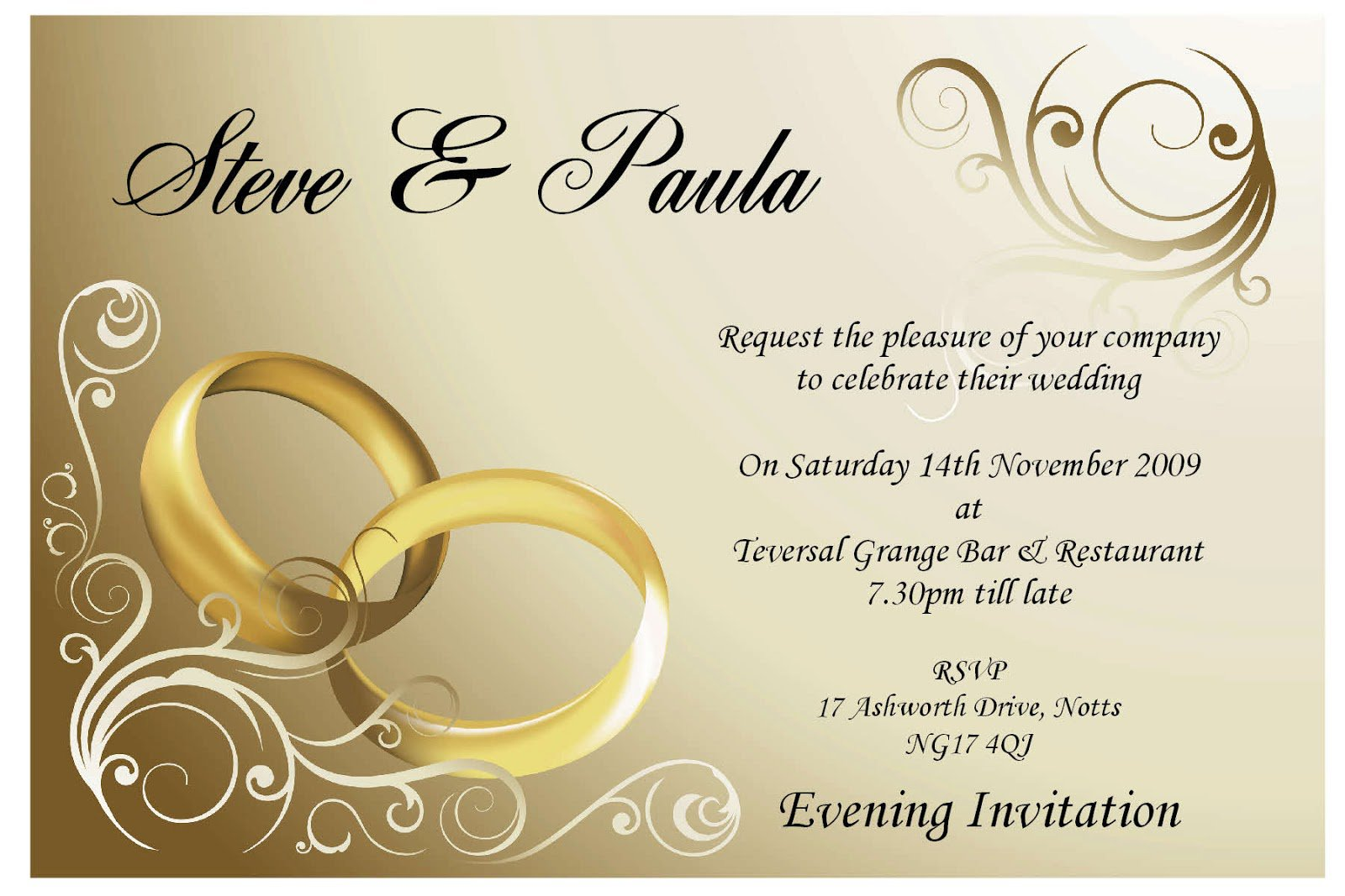 Gold And White Invitation Background