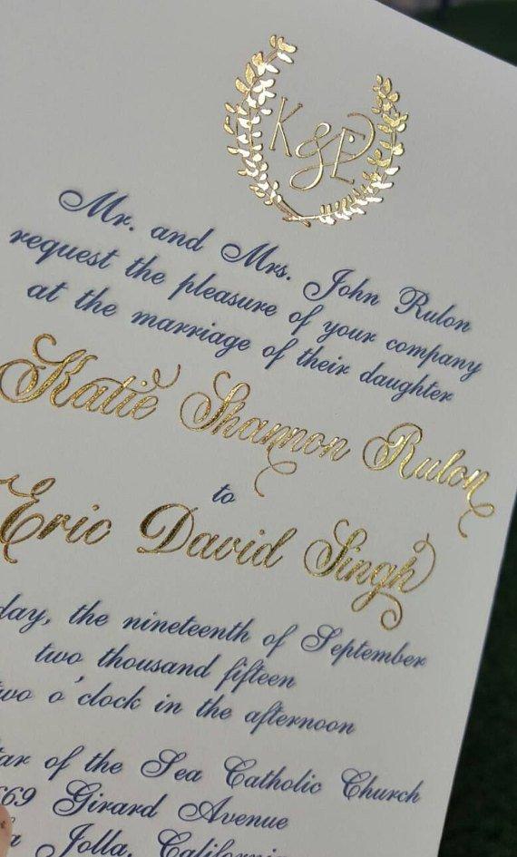 Gold Foil Wedding Invitations Etsy