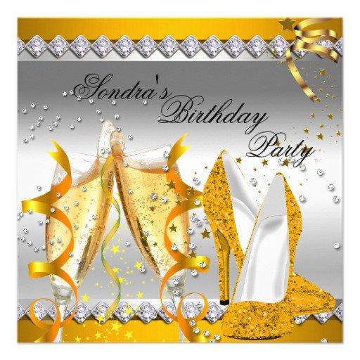 Gold Glitter Birthday Invitations