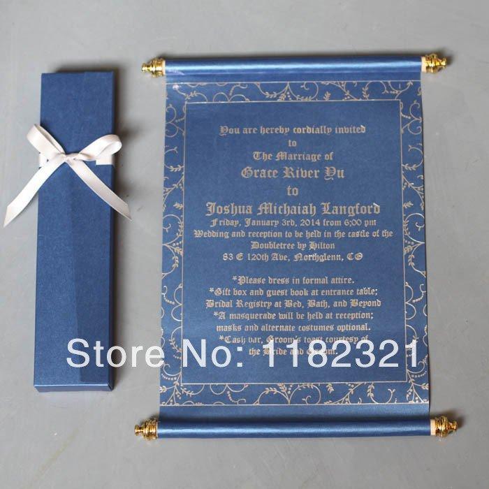Gold Ribbon Wedding Invitations