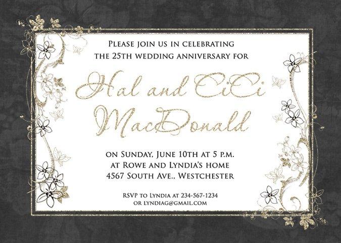 Gold Wedding Anniversary Invitation Wording