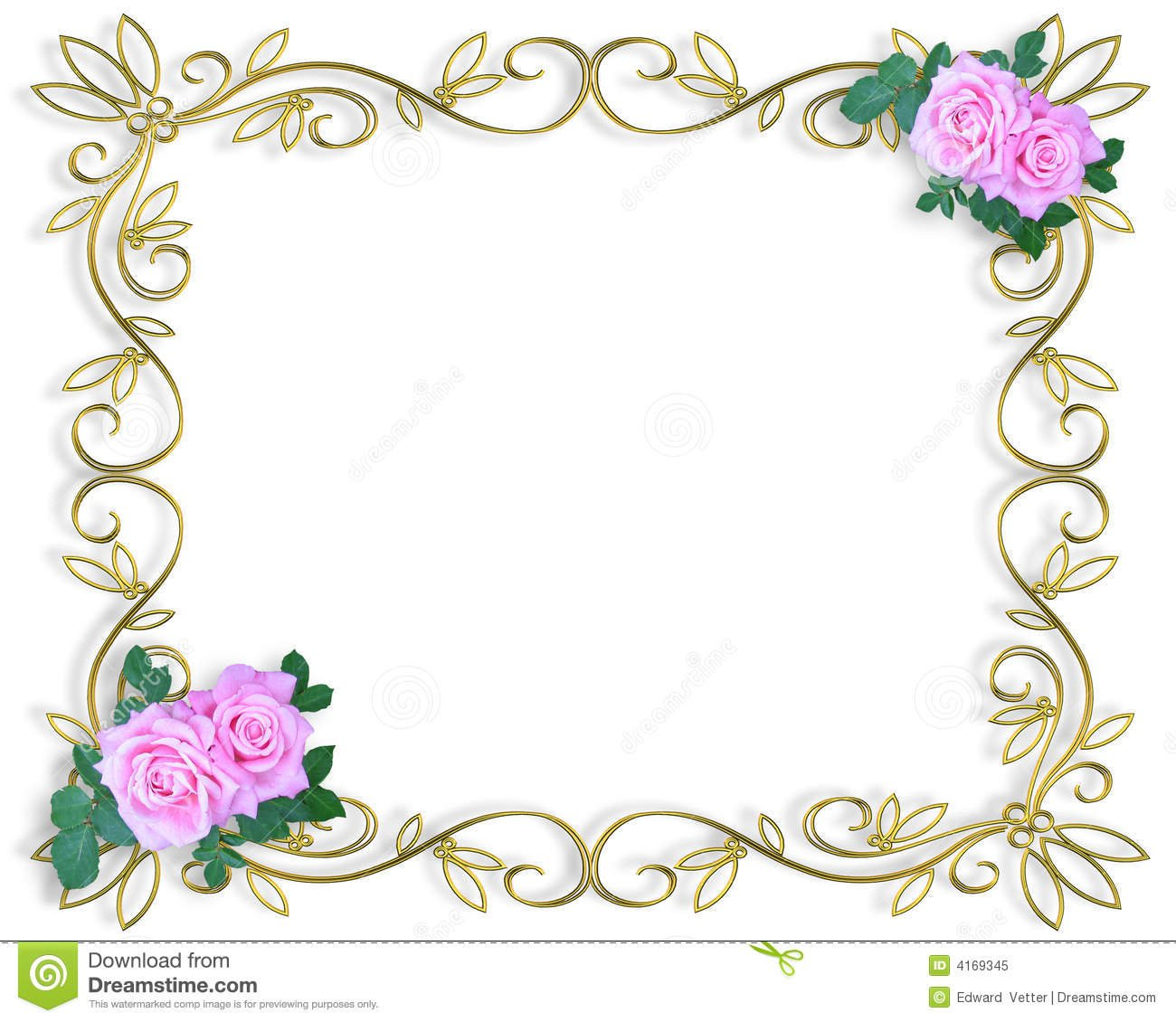 Gold Wedding Invitation Border Templates