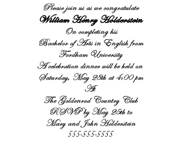 Graduation Party Invitation Wording Examples