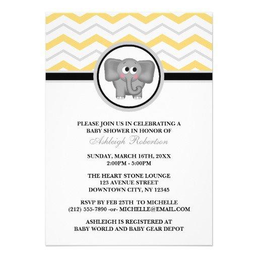 Gray Elephant Baby Shower Invitations