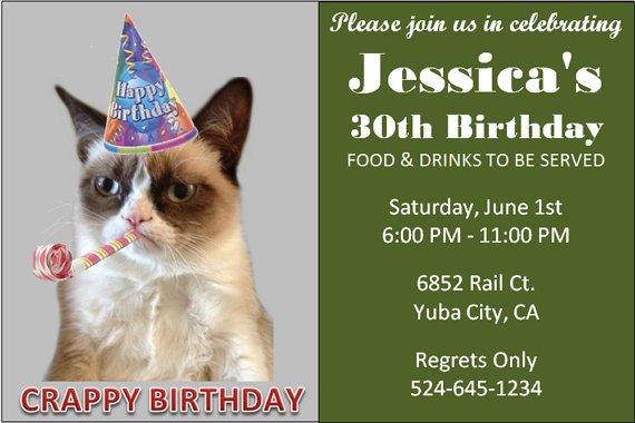 Grumpy Cat Birthday Invitations