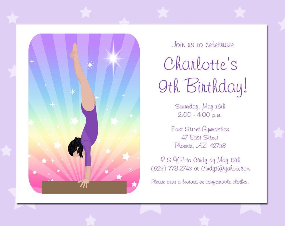 Gymnastic Invitations For Girls