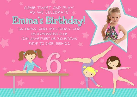 Gymnastics Birthday Invitation Wording