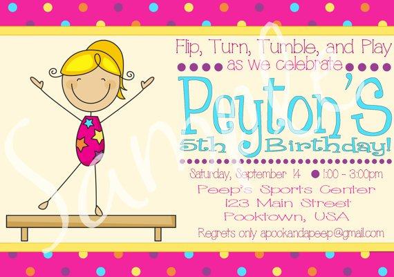 Gymnastics Birthday Invitations Purple