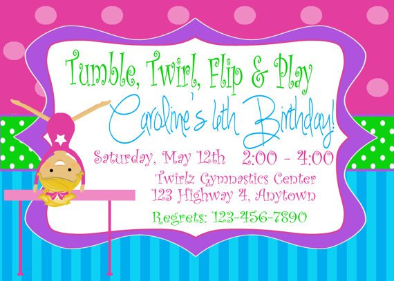 Gymnastics Party Invitations Printable