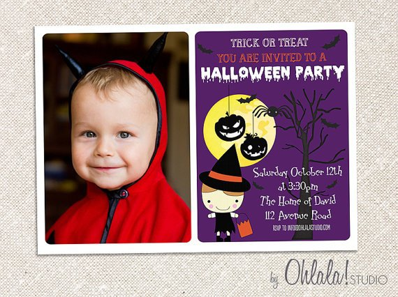 Halloween Birthday Invitations Etsy