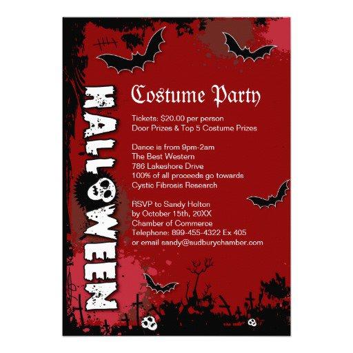 Halloween Costume Invitation Text