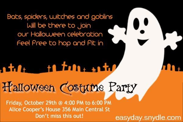 Halloween Costume Party Invitation Wording Ideas