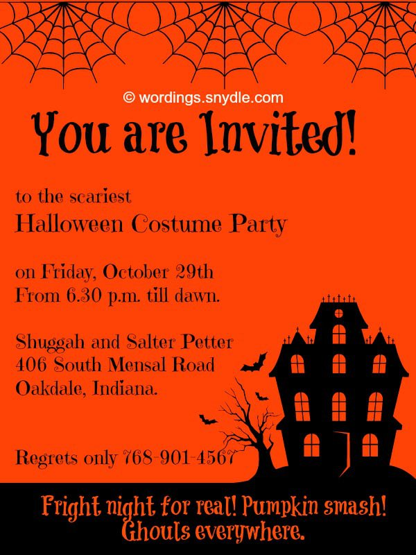 Halloween Party Invitation Wording Scary