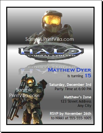 Halo Birthday Invitations Printable