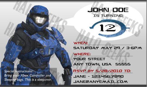Halo Reach Party Invitations