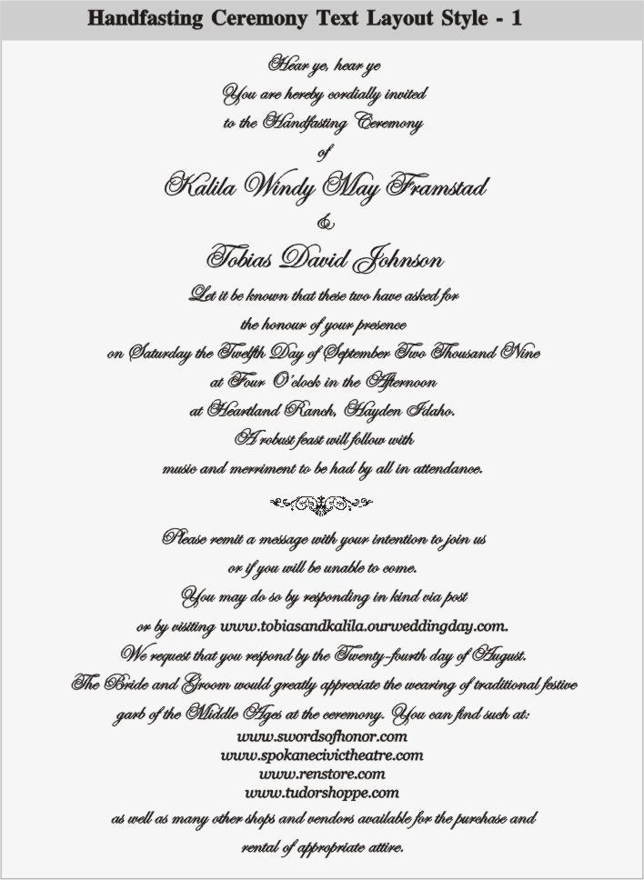 Handfasting Wedding Invitation Wording