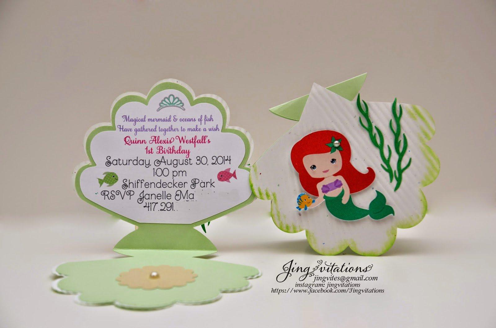 Handmade Little Mermaid Birthday Invitations