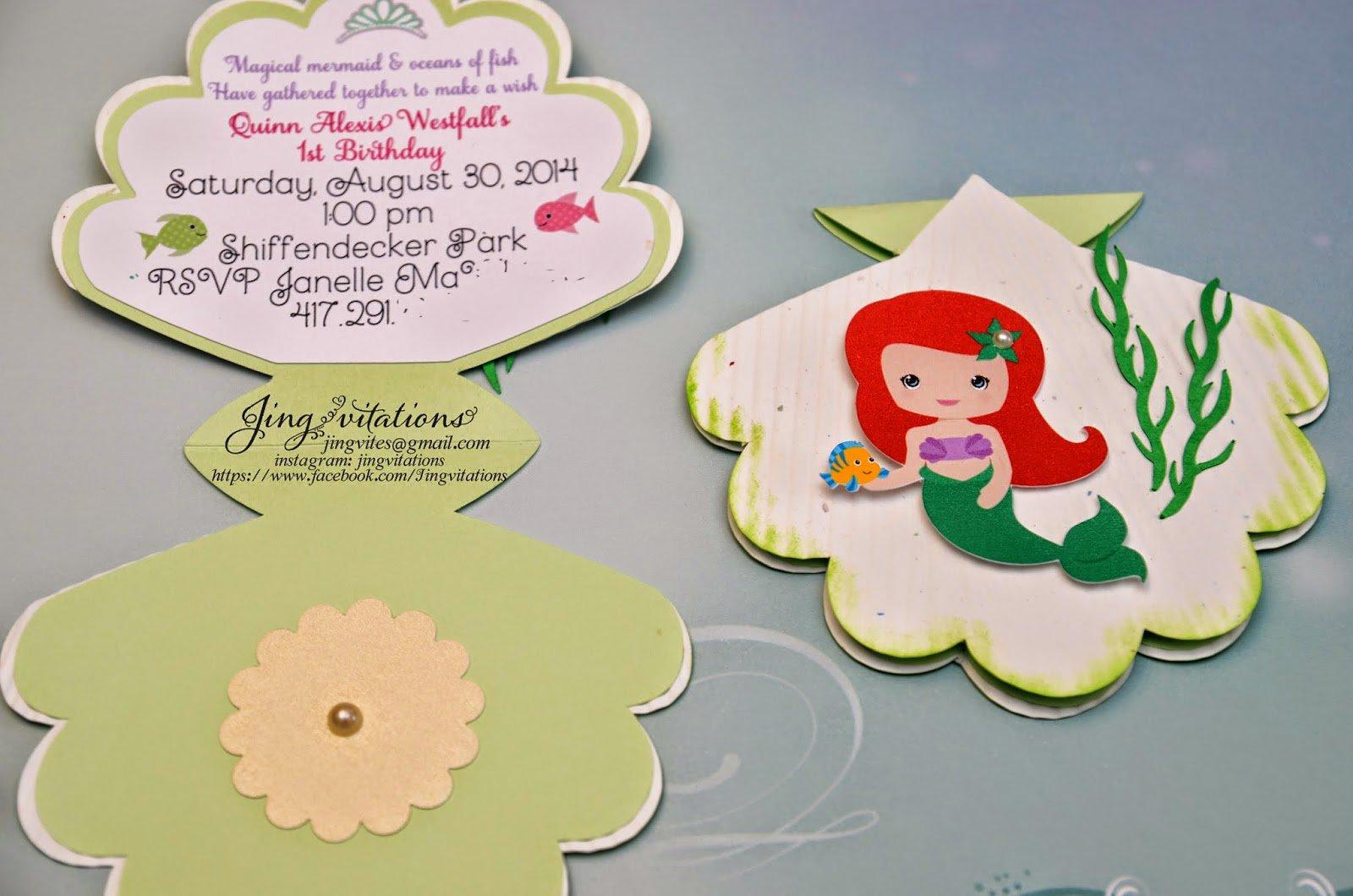 Handmade Little Mermaid Invitations