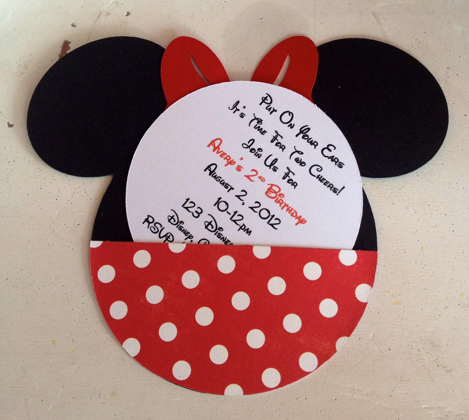 Handmade Minnie Mouse Invitations
