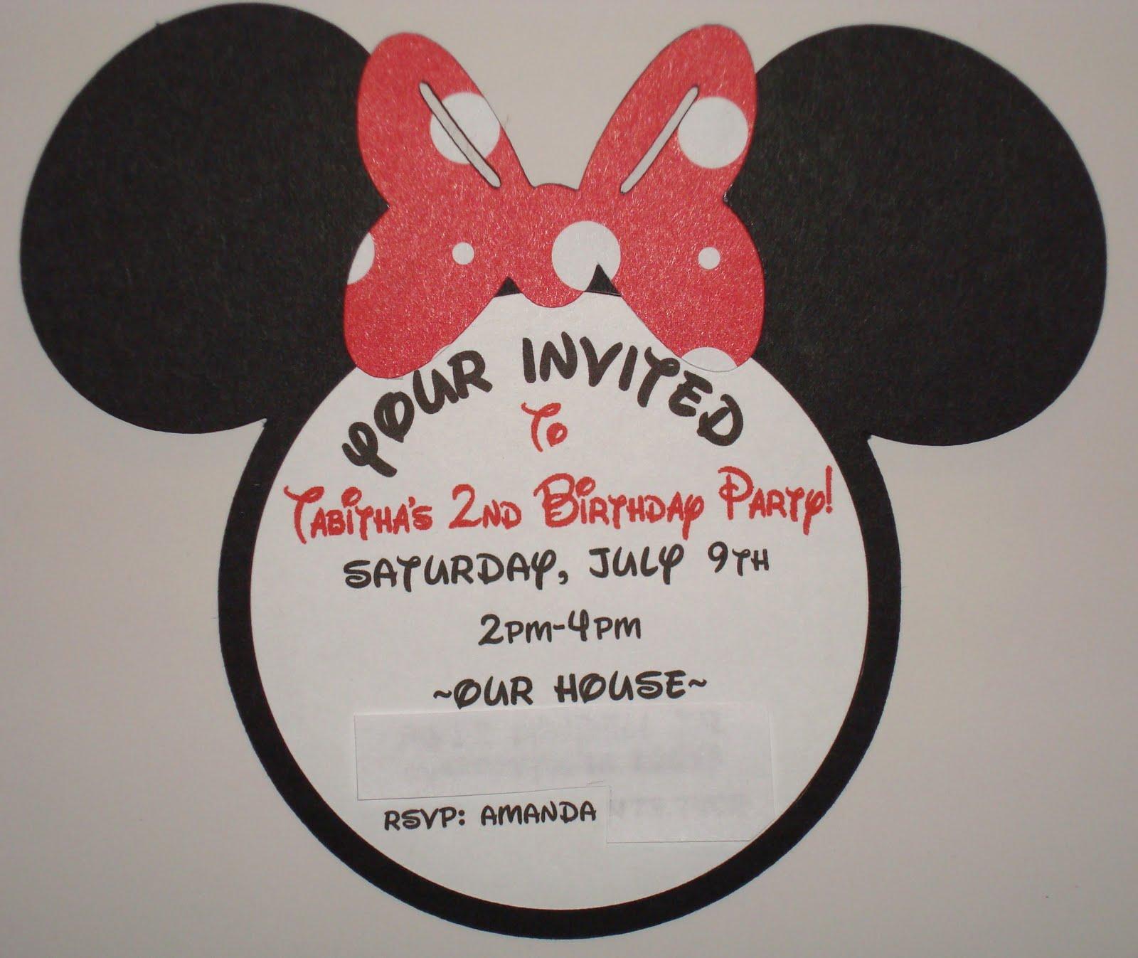 Handmade Minnie Mouse Invitations