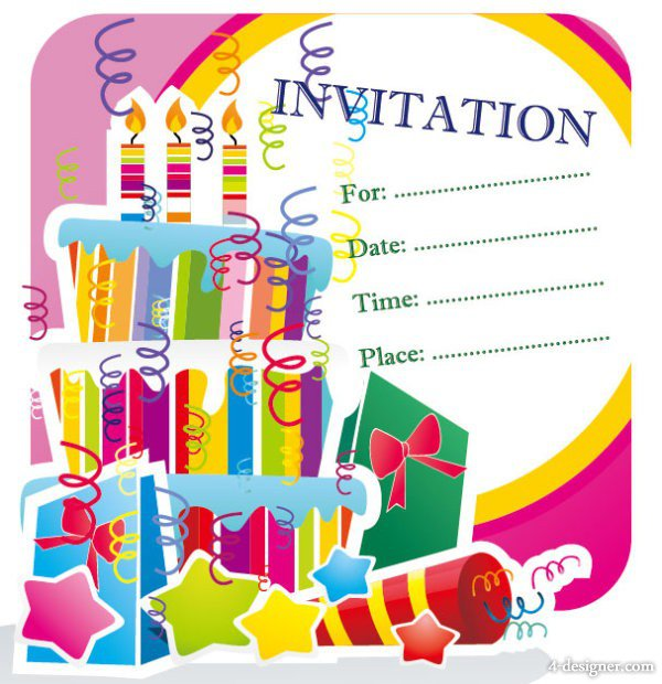Happy Birthday Invitation Template Card