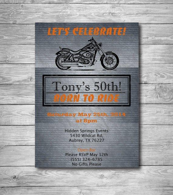 Harley-davidson 50th Birthday Invitations