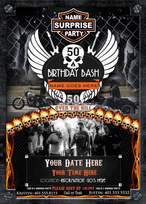 Harley Davidson 50th Birthday Invitations