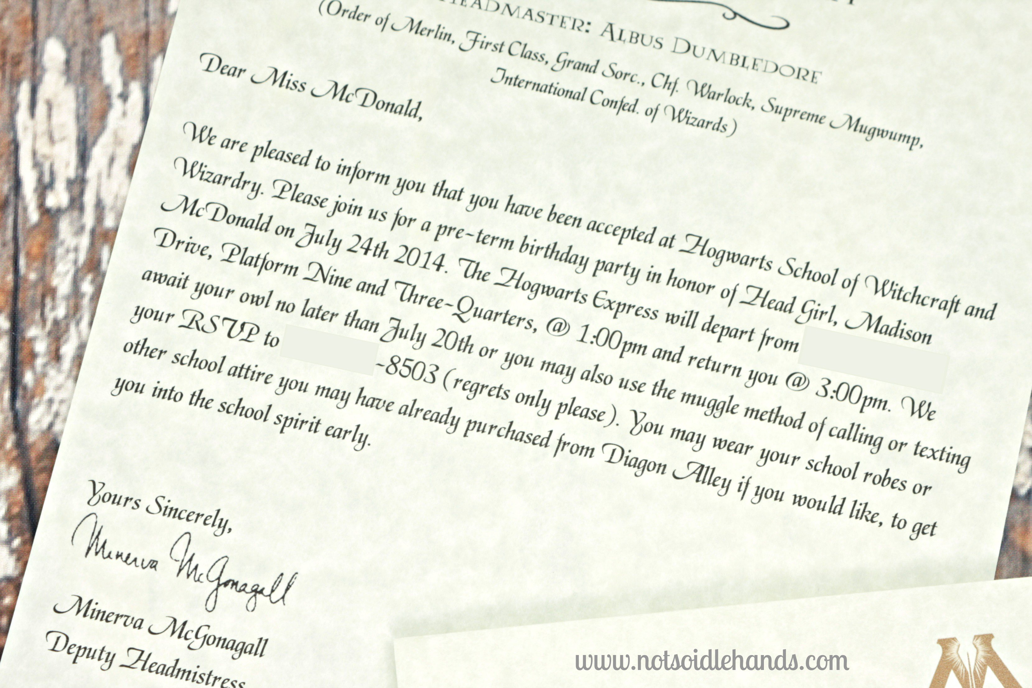 Harry Potter Acceptance Letter Birthday Invitation