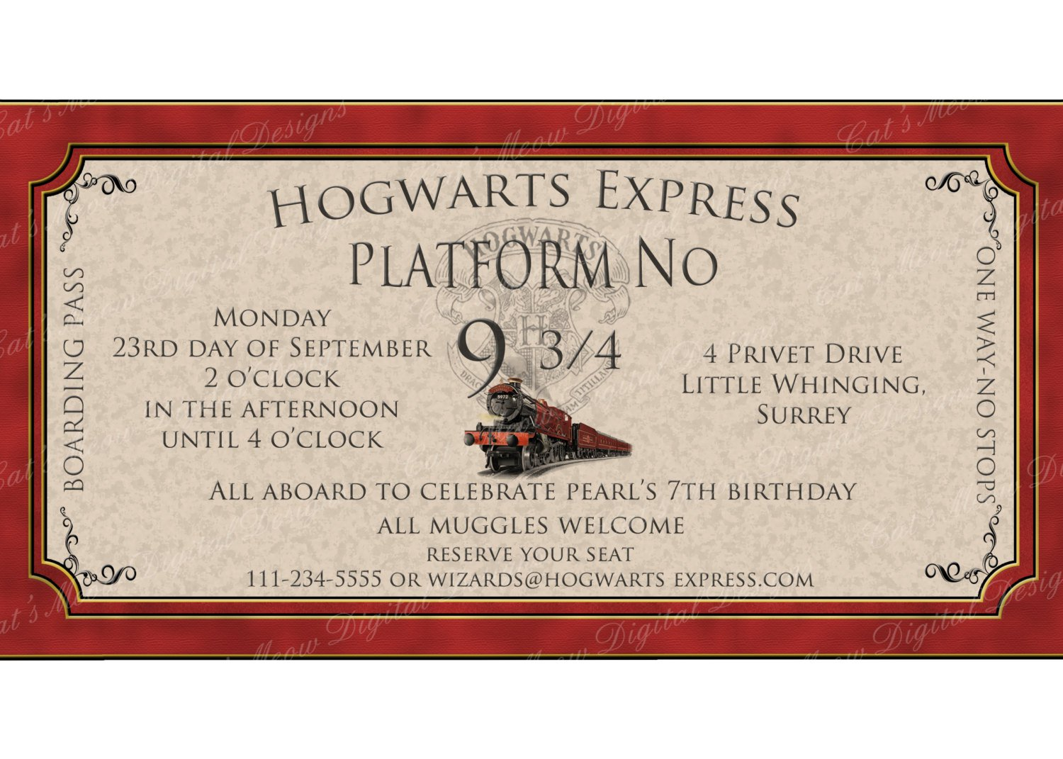 Harry Potter Birthday Party Invitation Letter